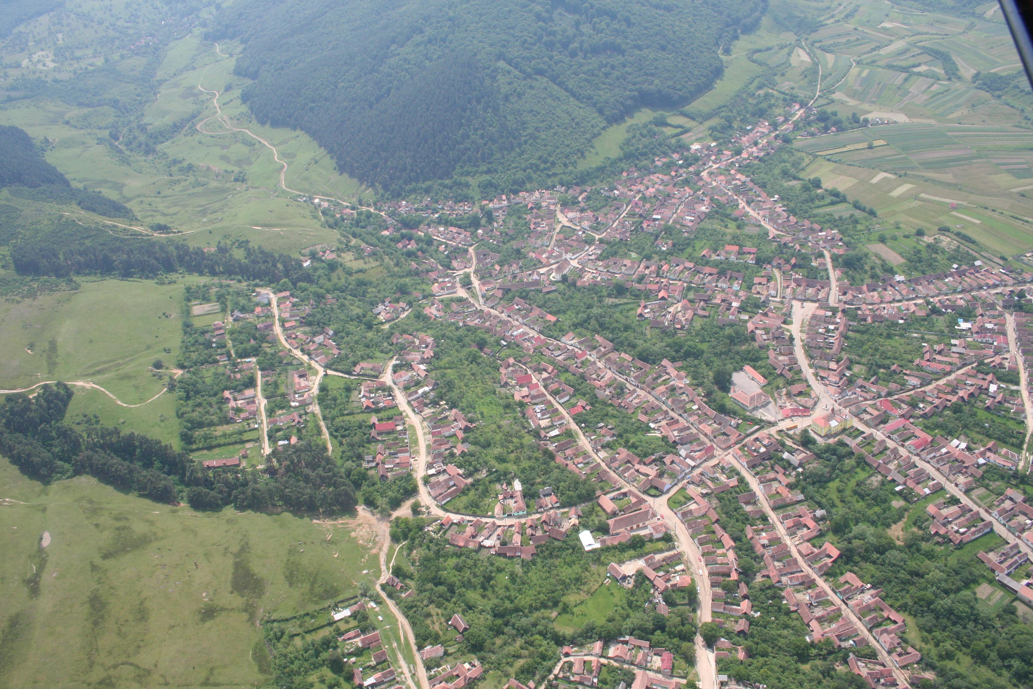 Comuna Poplaca - vedere panoramică aeriană